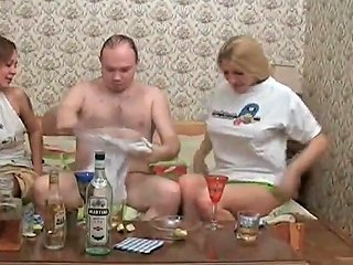 Two Drunk Chicks And Guy Switch Clothes